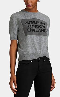 Burberry Women's Logo Cashmere Short-Sleeve Sweater - Gray