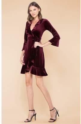 Hale Bob Bibiana Stretch Velvet Wrap Dress