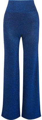 Missoni Metallic Stretch-knit Wide-leg Pants - Royal blue