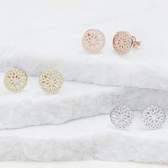 Dahlia Muru Talisman Flower Stud Earrings For Positivity