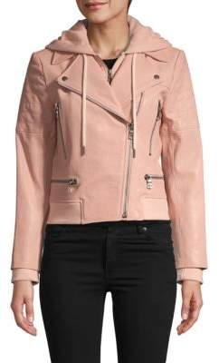 Leather & Cotton Blend Hooded Moto Jacket