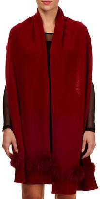 Gorski Knit Cashmere Stole w/ Fur Pompoms