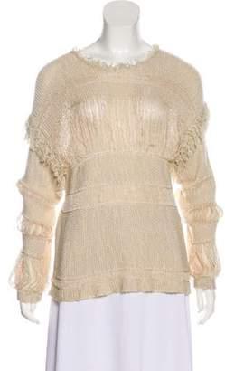 Isabel Marant Fringe-Trimmed Linen-Blend Sweater Tan Fringe-Trimmed Linen-Blend Sweater