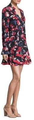 Tanya Taylor Poppy Long Sleeve Tulip Print Silk Dress