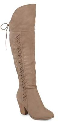 Brinley Co. Womens Wide Calf Faux Leather Faux Lace-up Over-the-knee Boots
