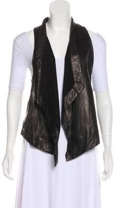 Diane von Furstenberg Leather Open Front Vest