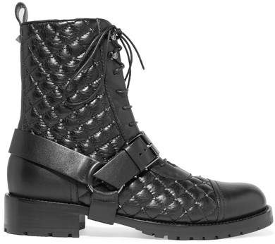 Valentino - Rockstud Quilted Leather Ankle Boots - Black