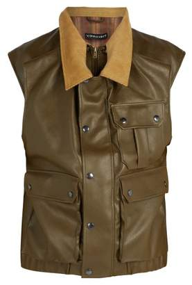 Y/Project Double Layered Faux Leather Gilet - Mens - Khaki