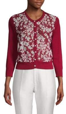 Floral-Print Knit Cropped Cardigan