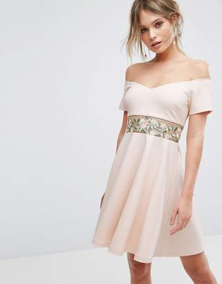 New Look Embroidered Bardot Mini Dress