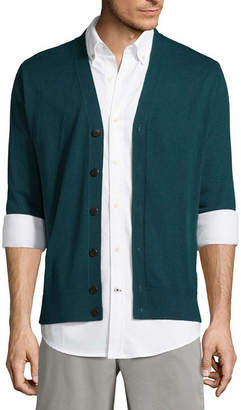 ST. JOHN'S BAY Mens Y Neck Long Sleeve Cardigan