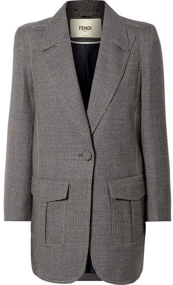 Oversized Checked Wool-blend Jacket - Gray