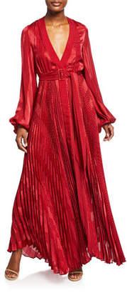 Alexis Salomo Pleated Long-Sleeve Maxi Dress w/ Belt