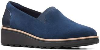 Clarks Collection By Sharon Dolly Suede Slip-On Wedge Shoes