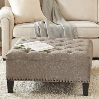 Madison Park Alice Tufted Faux-Leather Square Cocktail Ottoman
