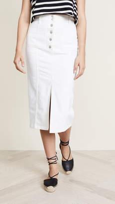 Madewell White High Slit Jean Skirt