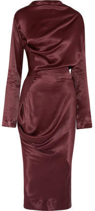 Vivienne Westwood Anglomania - New Fond Asymmetric Draped Hammered-satin Midi Dress - Burgundy