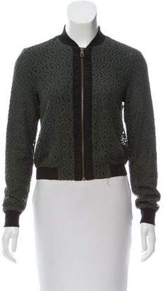 Ellen Tracy Lace Embroidered Bomber Jacket