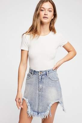 MinkPink Rip Tide Denim Mini Skirt