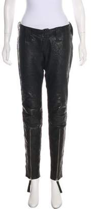 Thomas Wylde Leather Low-Rise Skinny Pants Black Leather Low-Rise Skinny Pants