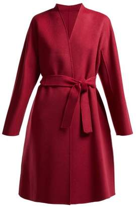 Max Mara Gimmy Belted Wool Coat - Womens - Burgundy