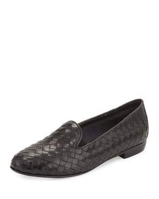 Sesto Meucci Nader Woven Leather Loafer, Black $275 thestylecure.com