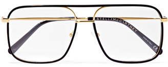 Stella McCartney D-frame Acetate And Gold-tone Optical Glasses - Black