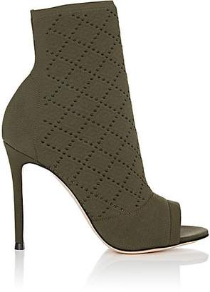 Gianvito Rossi Women's Perforated Knit Ankle Booties - Army Green
