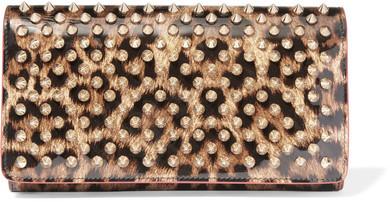 Christian Louboutin Christian Louboutin - Macaron Spiked Leopard-print Patent-leather Wallet - Leopard print