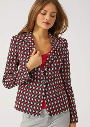 Emporio Armani Wool Blend Jacket With Pixel Motif