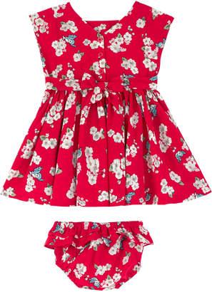 Cath Kidston Snow White Little Scattered Blossom Baby Tie Back Dress