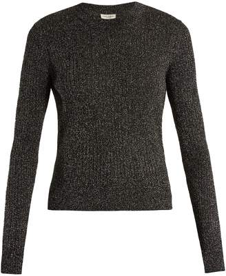 Saint Laurent Long-sleeved ribbed-knit lurex sweater