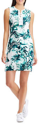 Chaps Leaf-Print Sleeveless Cotton Dress