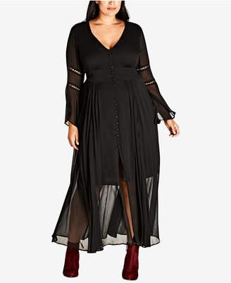 City Chic Trendy Plus Size Button-Front Illusion Maxi Dress