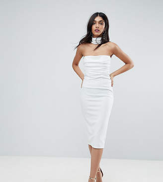 Asos Tall TALL Ruched Bodice Cross Back Midi Bodycon Dress