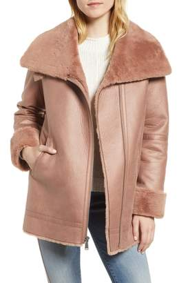 BCBGeneration Asymmetrical Zip Faux Shearling Coat