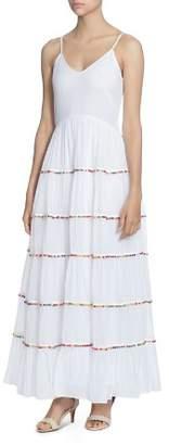 Catherine Malandrino Soumaya Tiered Ruffle Pom-Pom Maxi Dress