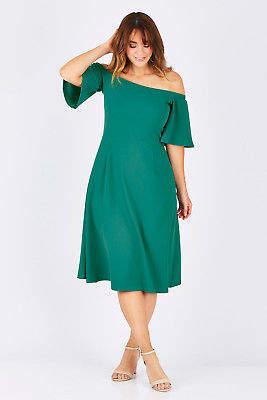 NEW bird by design Womens Knee Length Dresses The Off Shoulder Dress Amazon
