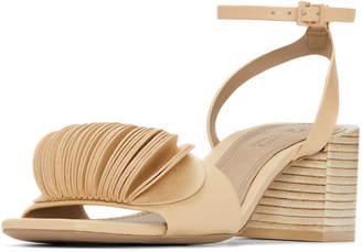 Mercedes Benz Castillo Riza Petal-Embellished Block-Heel Sandals, Beige