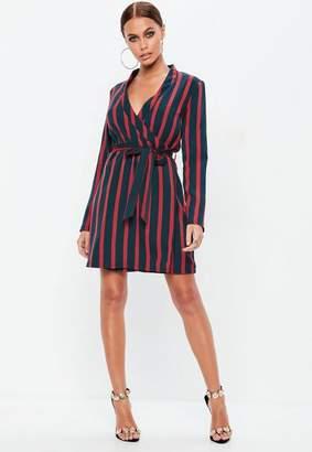 Missguided Red Contrast Stripe Tie Waist Shift Blazer Dress