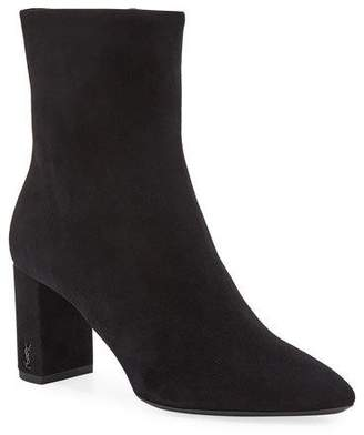 Saint Laurent Lou Suede Block-Heel Booties