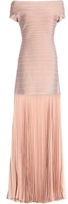 Herve Leger Off-the-shoulder Pleated Chiffon And Bandage Gown