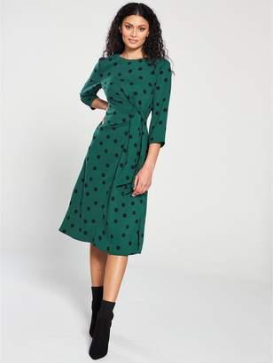 Warehouse Spot Print Dress - Green