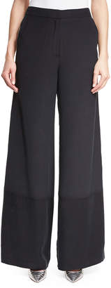 Robert Rodriguez Wide-Leg Silk Pants w/ Striped Sides
