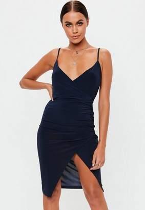 Missguided Navy Strappy Slinky Wrap Bodycon Midi Dress