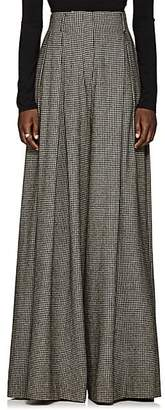 The Row Women's Garcia Houndstooth Camel Hair Wide-Leg Trousers - Black