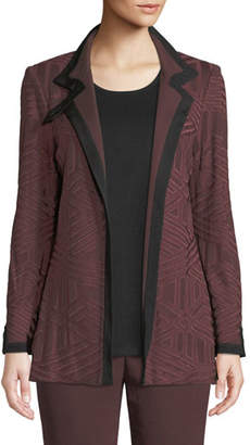 Misook Petite Textured Knit Jacket w/ Border Trim