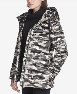 DKNY Sport Camo-Print Velvet Hooded Jacket
