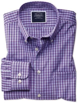 Charles Tyrwhitt Extra Slim Fit Non-Iron Purple Gingham Cotton Casual Shirt Single Cuff Size Large