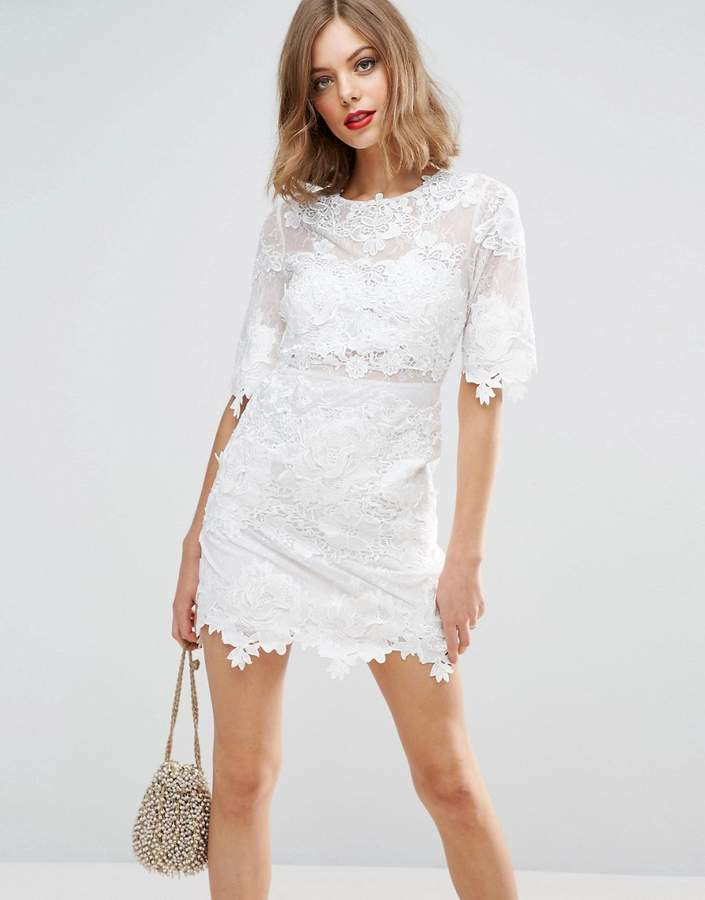 Asos ASOS BRIDAL Lace Embroidered Mini Shift Dress